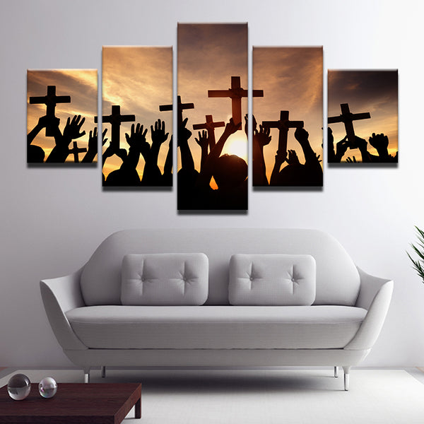 Christian Worshippers 5 Panel Canvas Print Wall Art