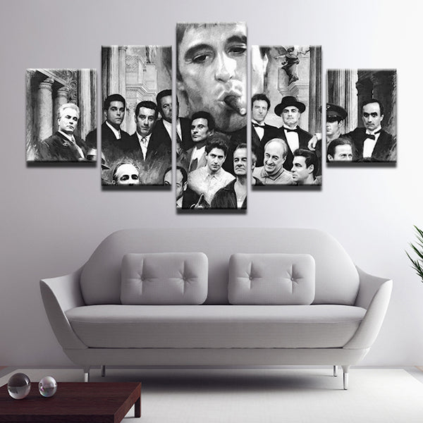 Movie TV Mafia Hall Of Fame Mob 5 Panel Canvas Print Wall Art