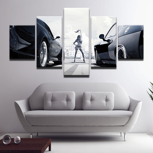 Fast And The Furious 5 Panel Canvas Print Wall Art