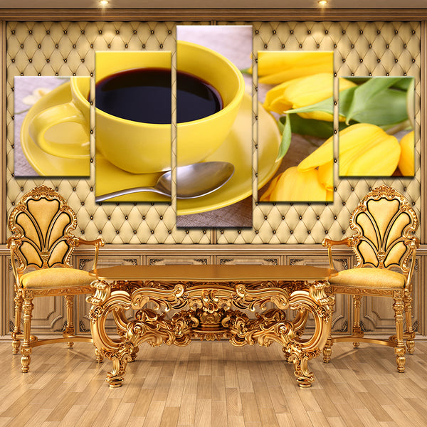 Coffee Yellow Cup Mug 5 Panel Canvas Print Wall Art
