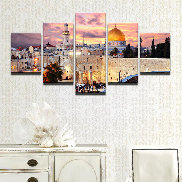 Jerusalem Israel Dome Of The Rock 5 Panel Canvas Print Wall Art