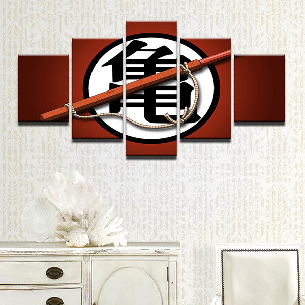 Dragon Ball Z Turtle Kanji 5 Panel Canvas Print Wall Art