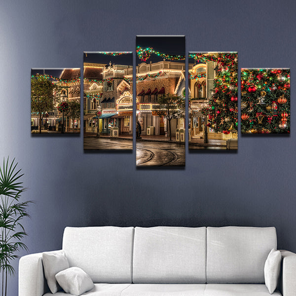 Disney World Main Street Christmas 5 Panel Canvas Print Wall Art