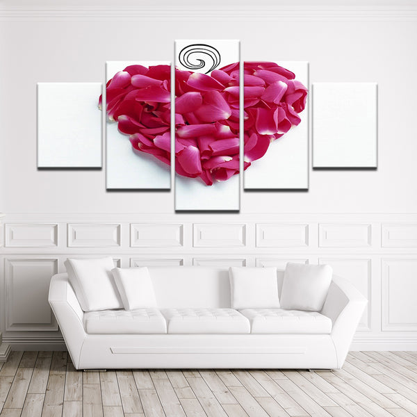 Fuschia Rose Petal Heart 5 Panel Canvas Print Wall Art