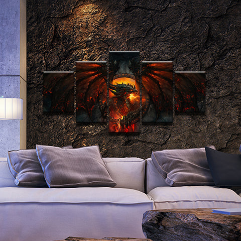 World of Warcraft: Cataclysm 5 Panel Canvas Print Wall Art