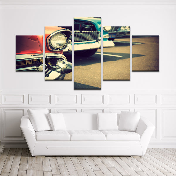 Classic Cars Car Show Chrome Grills 5 Panel Canvas Print Wall Art
