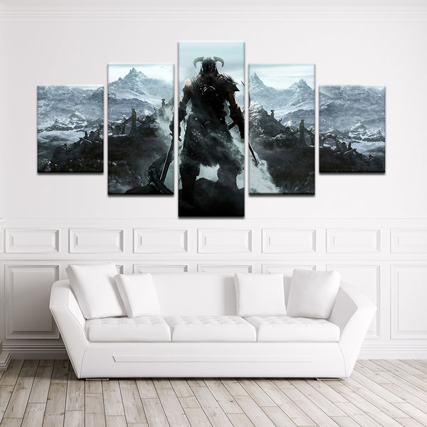 Elder Scrolls V: Skyrim 5 Panel Canvas Print Wall Art