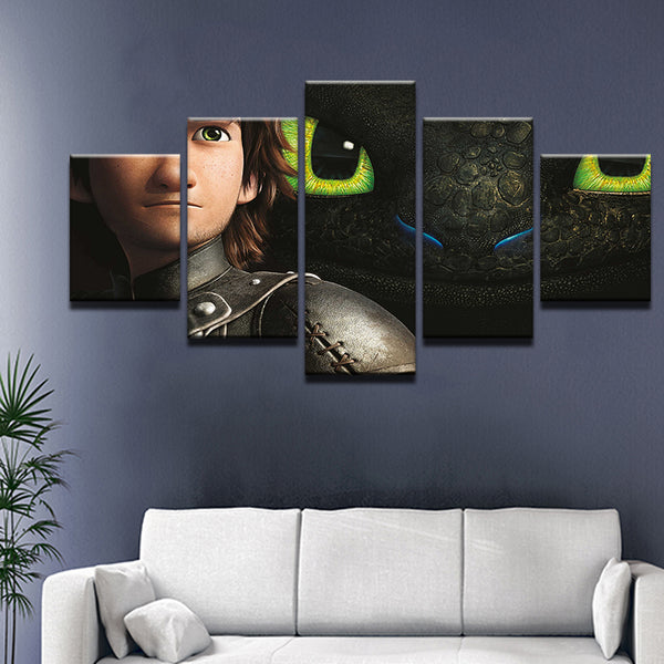 How To Train Your Dragon 5 Panel Canvas Print Wall Art