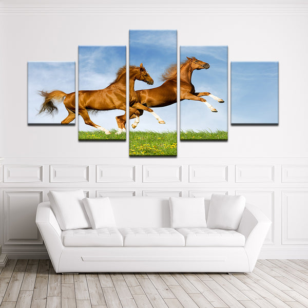 Horses Leaping 5 Panel Canvas Print Wall Art