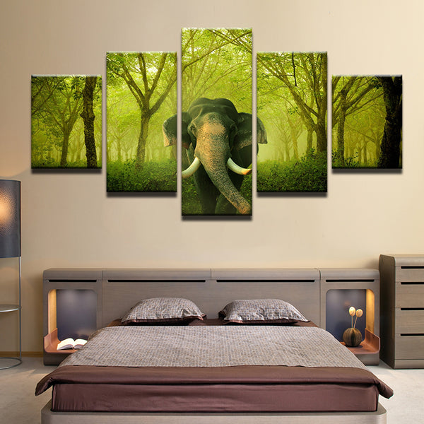 Elephant In The Forest 5 Panel Canvas Print Wall Art