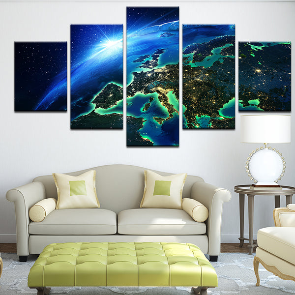 Planet Earth Europe At Night From Space Abstract Polar Cap 5 Panel Canvas Print Wall Art