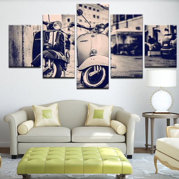 Vespa Vintage Scooter 5 Panel Canvas Print Wall Art