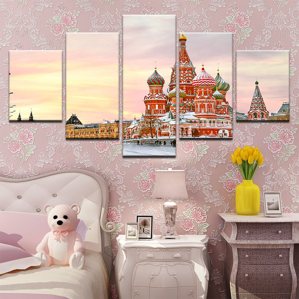 Saint Basil's Cathedral Red Square Moscow Russia 5 Panel Canvas Print Wall Art