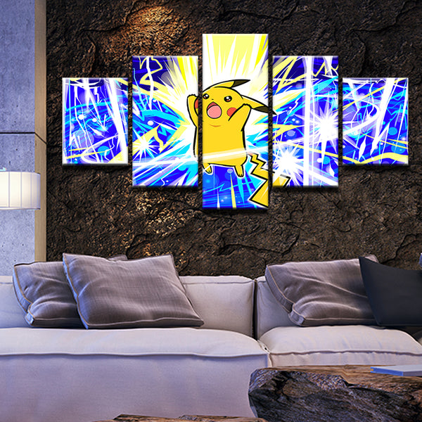Pokemon Pikachu 5 Panel Canvas Print Wall Art