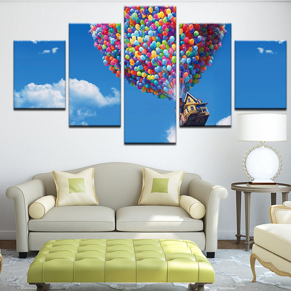 Up Movie Kevin Russell Balloon House 5 Panel Canvas Print Wall Art