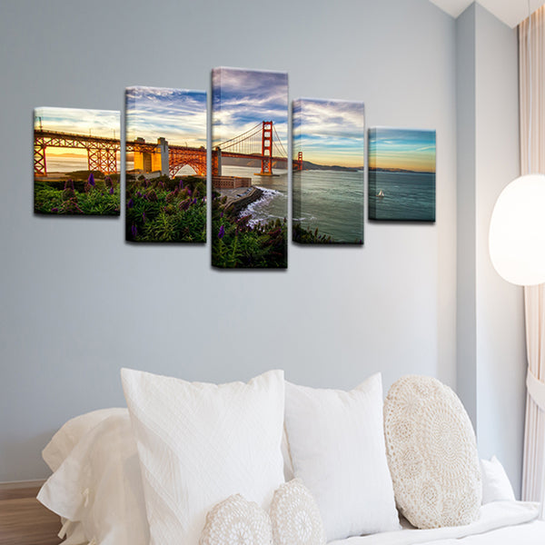 San Francisco Golden Gate Bridge 5 Panel Canvas Print Wall Art