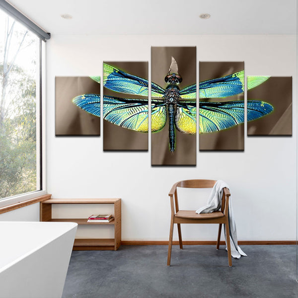 Blue Green Dragonfly 5 Panel Canvas Print Wall Art