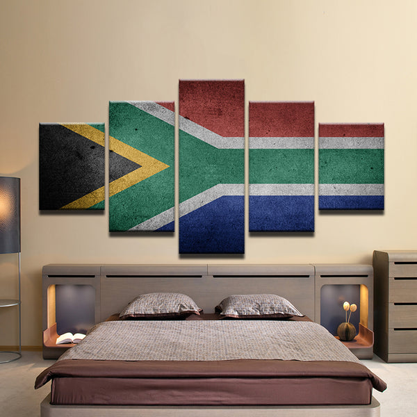 South Africa Flag 5 Panel Canvas Print Wall Art
