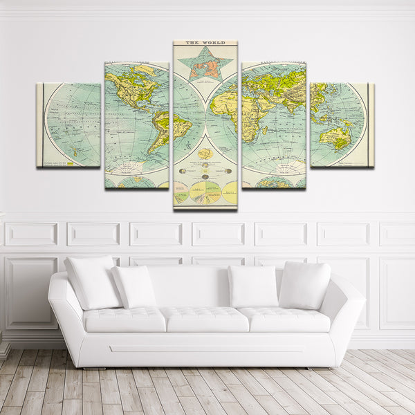World Map 5 Panel Canvas Print Wall Art