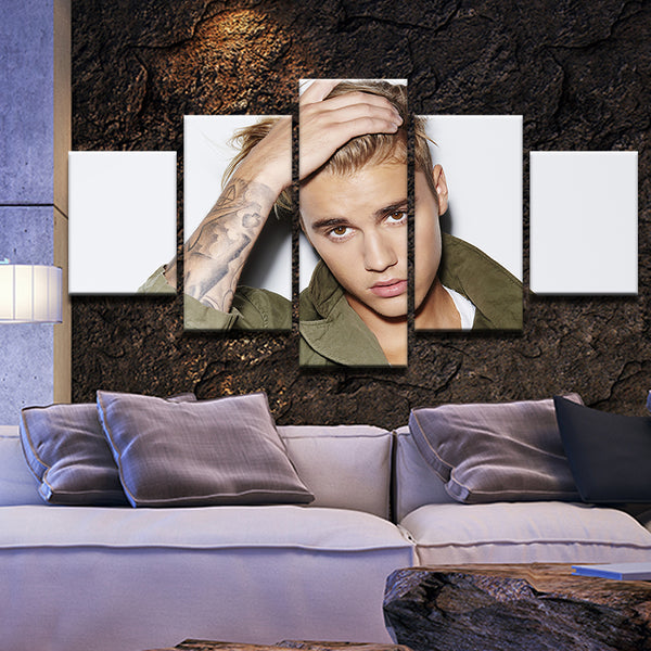 Justin Bieber 5 Panel Canvas Print Wall Art