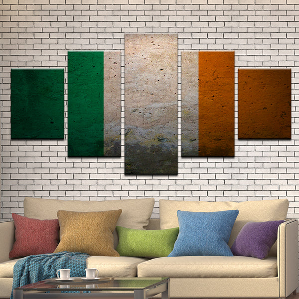 Ireland Irish Flag 5 Panel Canvas Print Wall Art