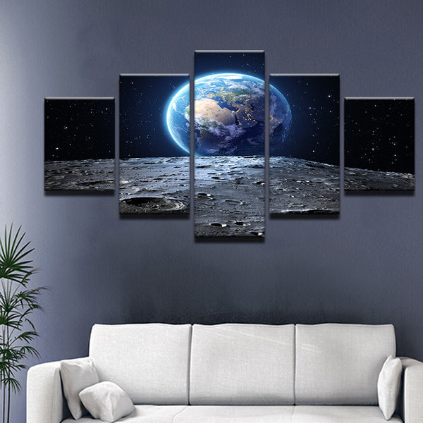 Earth From The Moon 5 Panel Canvas Print Wall Art