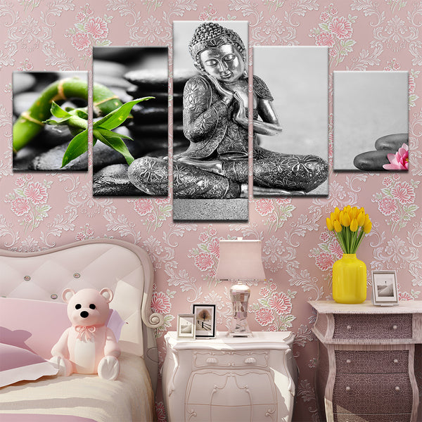 Buddha Statuette 5 Panel Canvas Print Wall Art