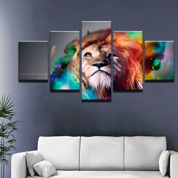 Abstract Lion Spirit 5 Panel Canvas Print Wall Art