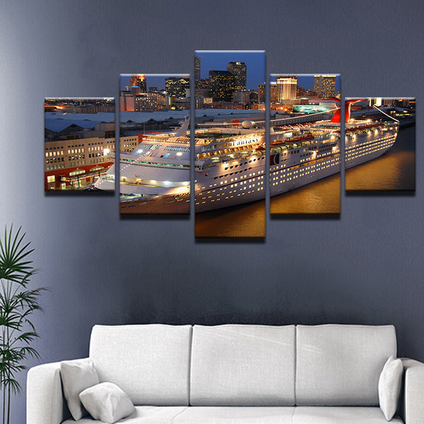 Carnival Cruise Lines Ship 5 Panel Canvas Print Wall Art
