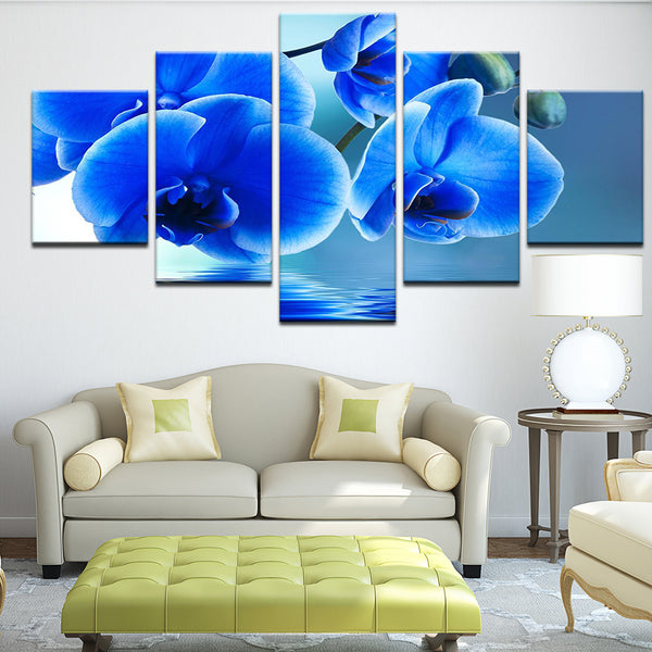 Blue Orchids 5 Panel Canvas Print Wall Art