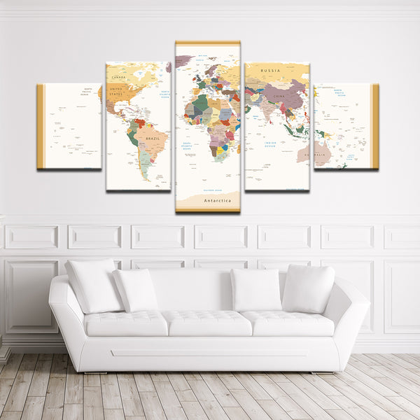 Colorful World Map 5 Panel Canvas Print Wall Art