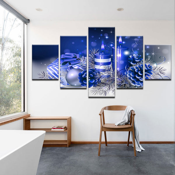 Blue Christmas Decorations 5 Panel Canvas Print Wall Art
