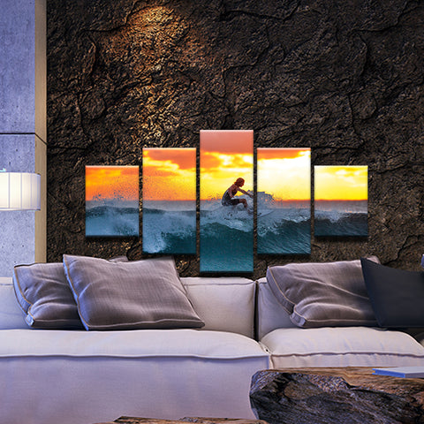 Surfer Surfing In The Surf At Sun Set 5 Panel Canvas Print Wall Art