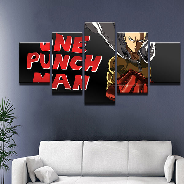 One Punch Man 5 Panel Canvas Print Wall Art