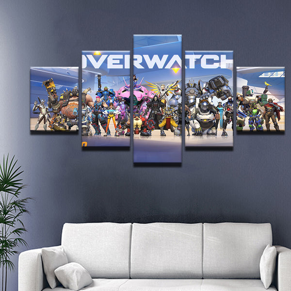 Overwatch 5 Panel Canvas Print Wall Art