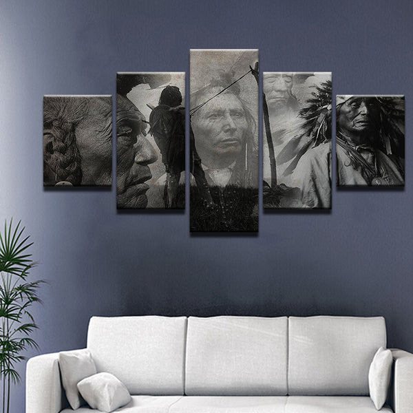 Native American Elders Spirits Composite 5 Panel Canvas Print Wall Art
