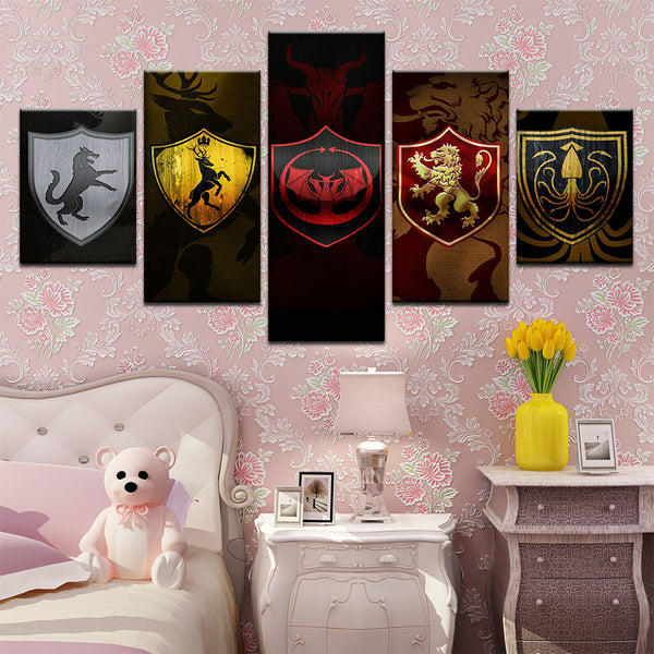 Game of Thrones House Crests 5 Panel Canvas Print Wall Art