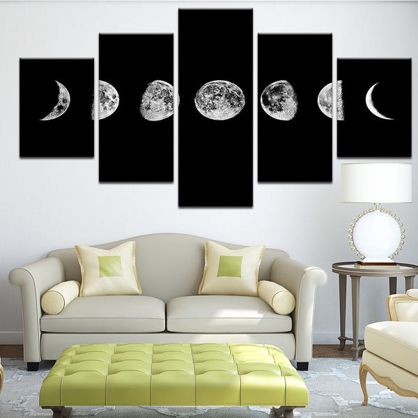 Phases Of The Moon 5 Panel Canvas Print Wall Art