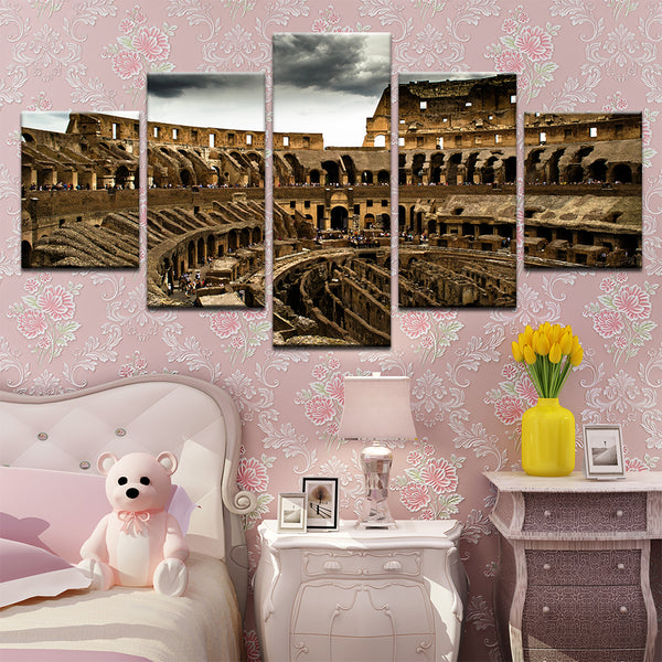 Colosseum Rome Italy 5 Panel Canvas Print Wall Art