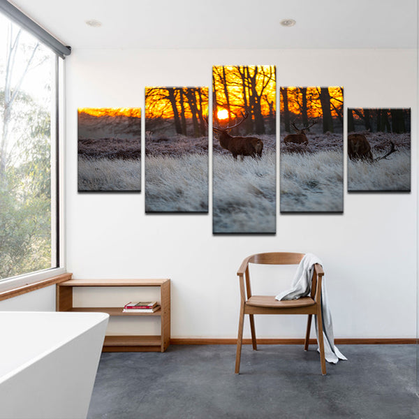 Deer At Dawn 5 Panel Canvas Print Wall Art
