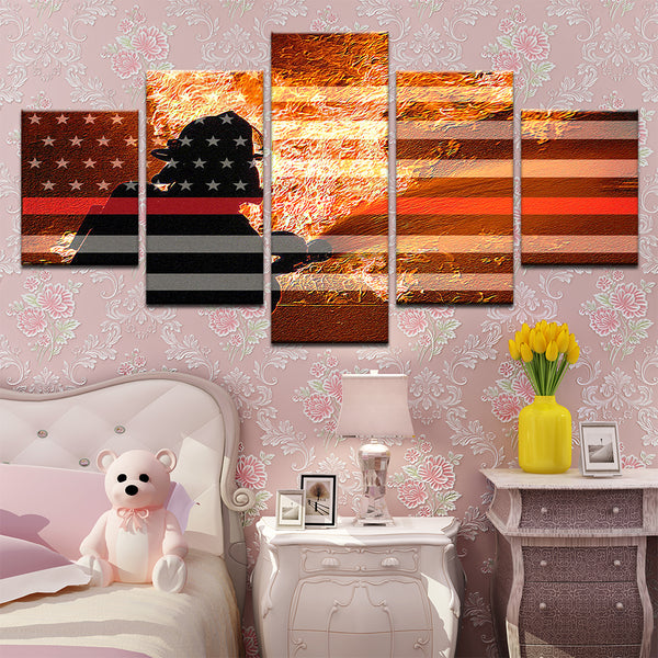 Hero Firefighter American Flag 5 Panel Canvas Print Wall Art