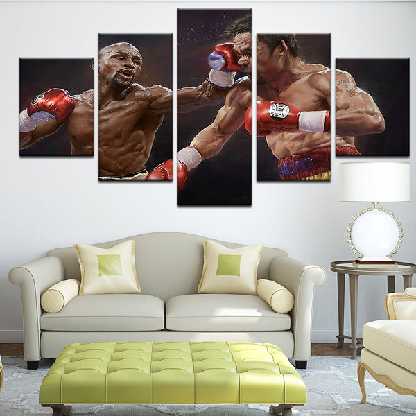 Mayweather Pacquiao Boxing 5 Panel Canvas Print Wall Art