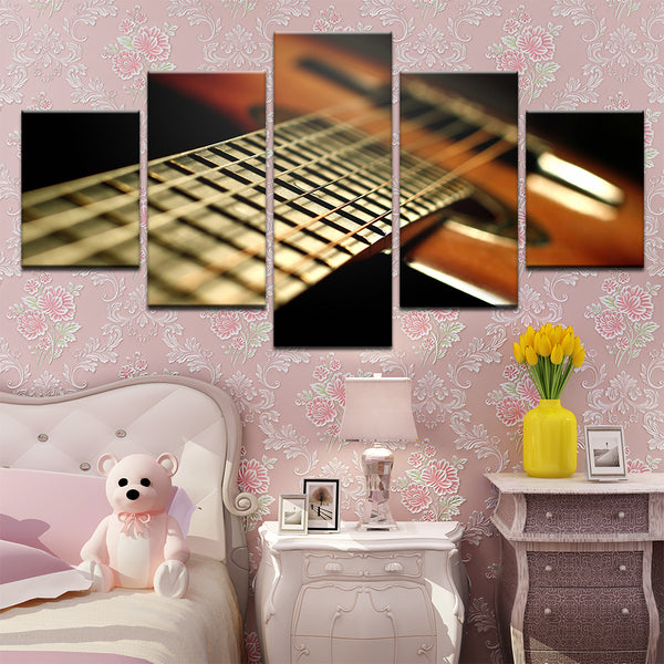 Acoustic Guitar Neck 5 Panel Canvas Print Wall Art