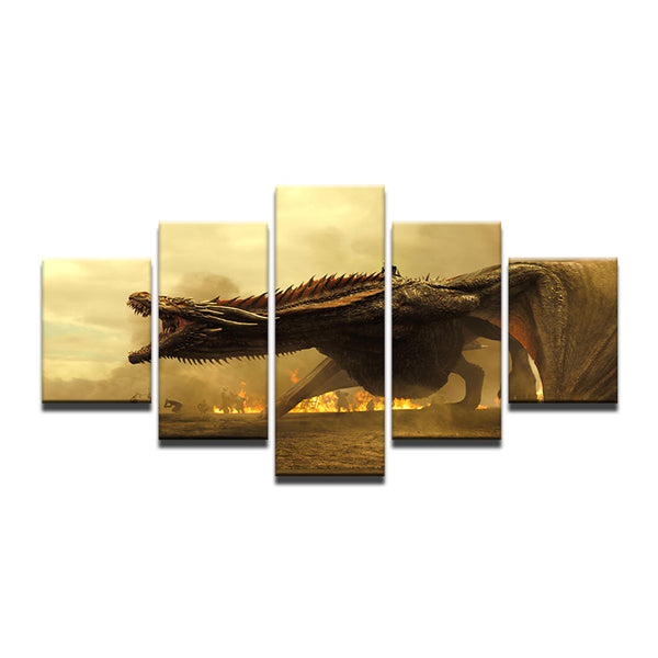 Game of Thrones Dragon 5 Panel Canvas Print Wall Art