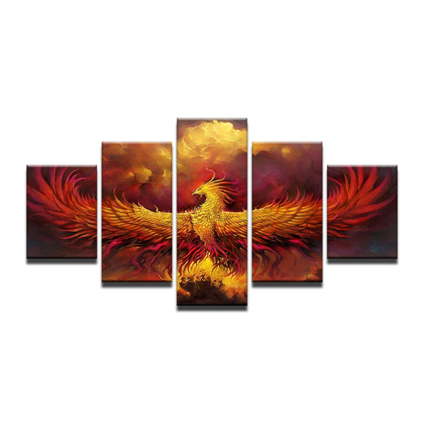 Phoenix Rising 5 Panel Canvas Print Wall Art
