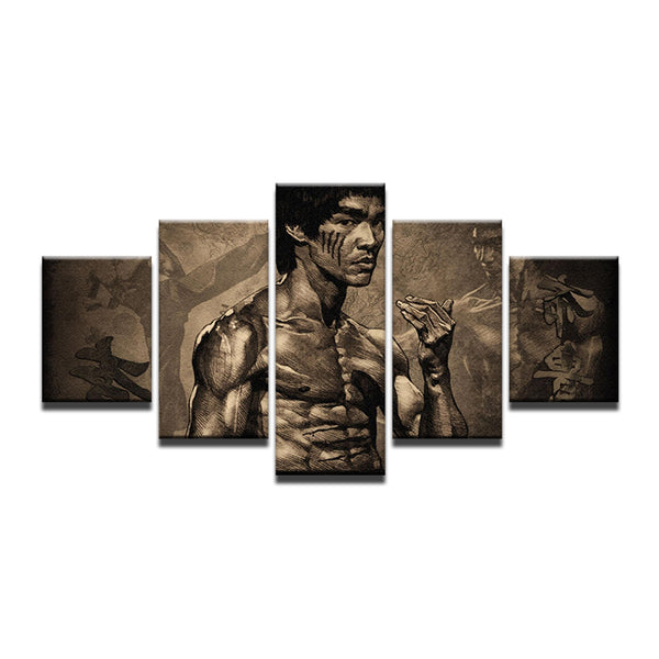 Bruce Lee 5 Panel Canvas Print Wall Art