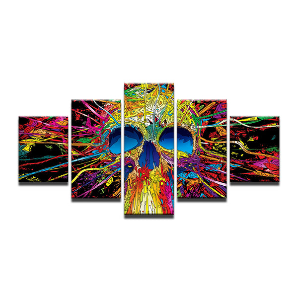 Colorful Abstract Skull 5 Panel Canvas Print Wall Art
