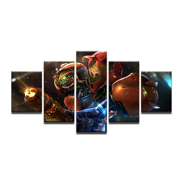 Metroid Prime 5 Panel Canvas Print Wall Art