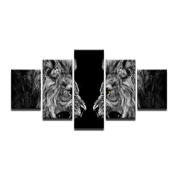 Lions 5 Panel Canvas Print Wall Art