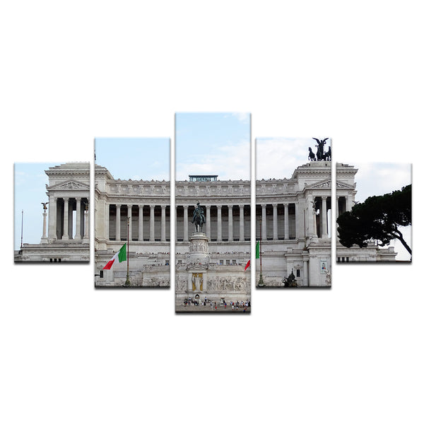 Altar Of The Fatherland Rome Italy 5 Panel Canvas Print Wall Art